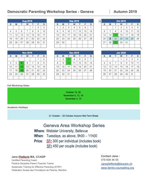 Geneva PD Calendar 2019